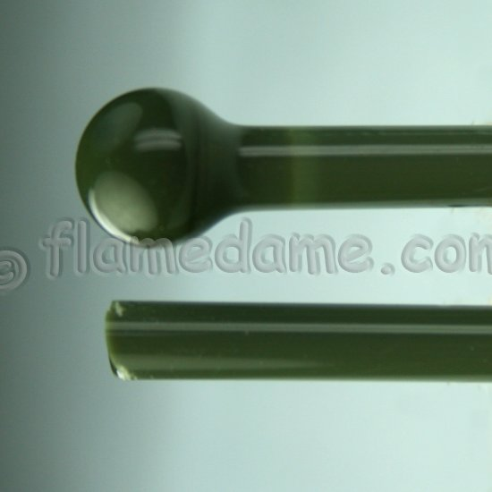 Lauscha Green OLIVE Opaque 7-9 mm - Click Image to Close